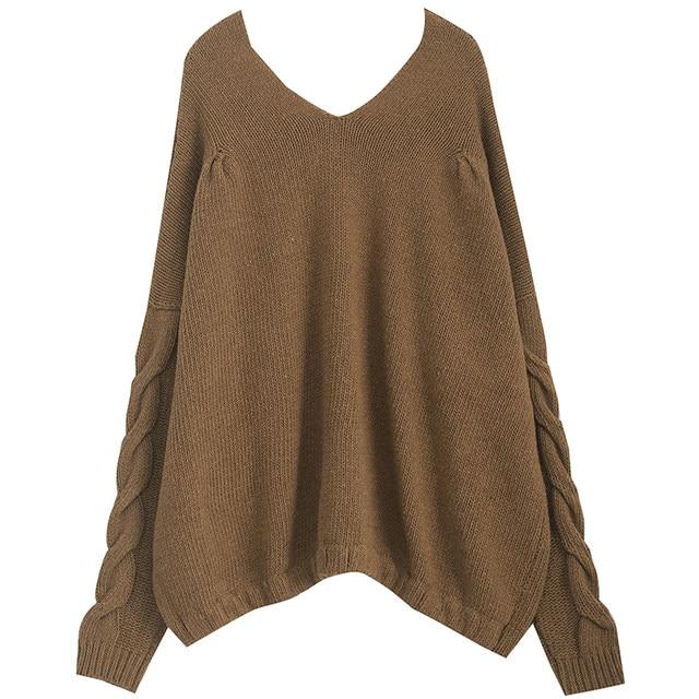 [EAM] Big Size Oversize Knitting Sweater Loose Fit V-Neck Long Batwing Sleeve Women New Fashion Tide Autumn Winter 2019 1B621 27