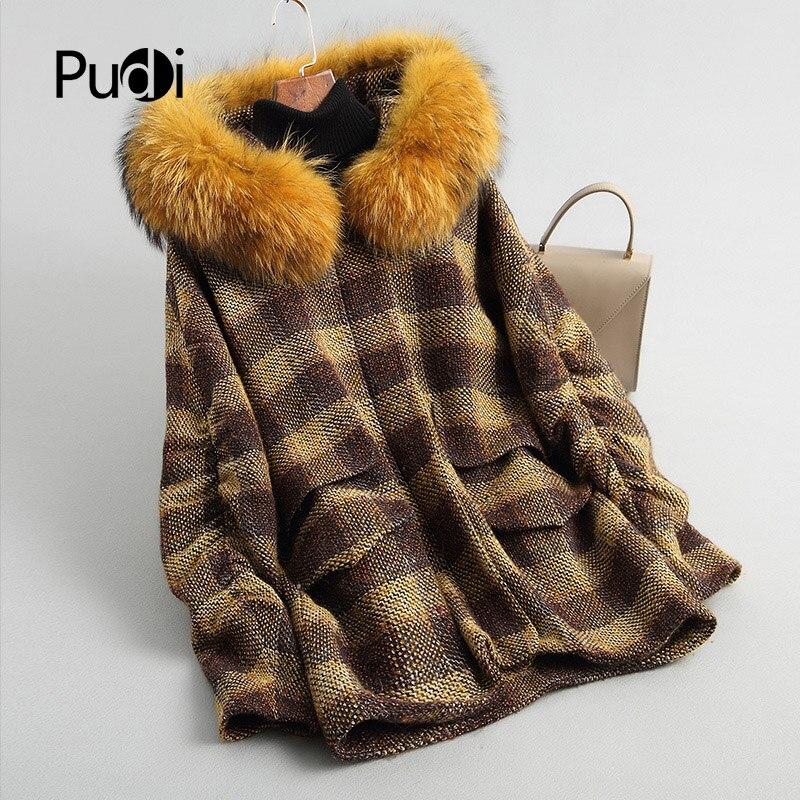 Inverno para Mulheres lã de Pele com Gola de Pele de Guaxinim Quente Genuína Cabolsa Senhora Jaqueta A18126