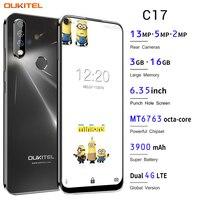 OUKITEL C17 الروبوت 9.0 الهاتف الذكي 6.35 'الوجه ID بصمة 4G الهاتف المحمول الثلاثي كاميرا MT6763 الثماني النواة 3GB 16GB 3900mAh الهواتف المحمولة الهواتف المحمولة ووسائل الاتصالات -