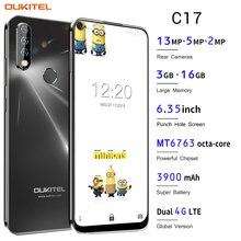 OUKITEL C17 الروبوت 9.0 الهاتف الذكي 6.35 الوجه ID بصمة 4G الهاتف المحمول الثلاثي كاميرا MT6763 الثماني النواة 3GB 16GB 3900mAh