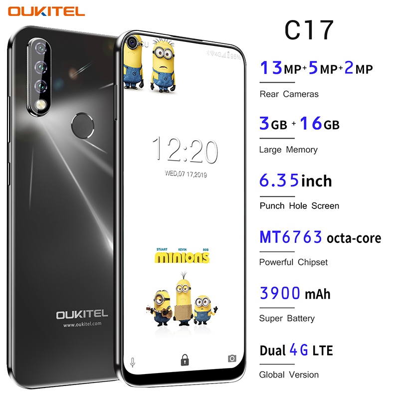 OUKITEL C17 Android 9.0 Smartphone 6.35'' Face ID Fingerprint 4G Mobile Phone Triple Camera MT6763 Octa Core 3GB 16GB 3900mAh