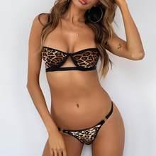 Venda quente feminino sexy leopardo padrão roupa interior sml tamanho conjuntos de sutiã