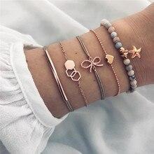 ZORCVENS 5 pcs/set Colorful Beads Bracelet Set Gold Color Heart Bow Starfish Geometric for Woman Wholesale