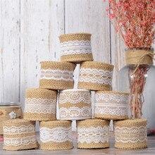 2M cinta de Yute Natural de arpillera rústico Vintage florero decoración de boda de encaje de yute rollo Feliz Navidad suministros de fiesta DIY