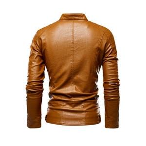 Image 5 - Jesienna kurtka mężczyźni nowy szczupły Retro zimowe kurtki męskie PU skóra stojak kołnierz odzież sportowa garnitury męskie kurtka bomberka Chaqueta Hombre