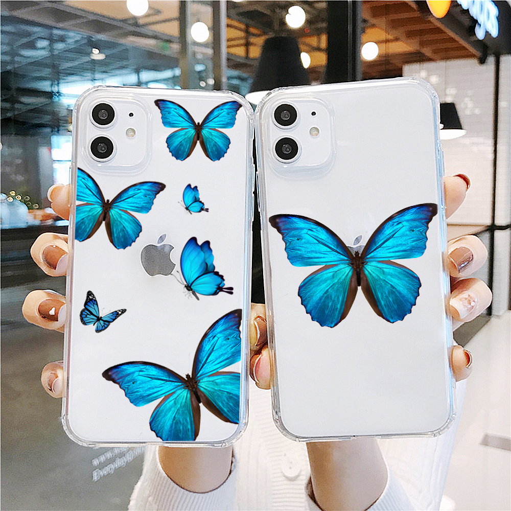 Animal Blue Butterfly Case For Samsung Galaxy A50 A70 S11 S10 S9 S8 PLUS S7 S6 A10 A20 Soft TPU Case Summer Lovely Cover