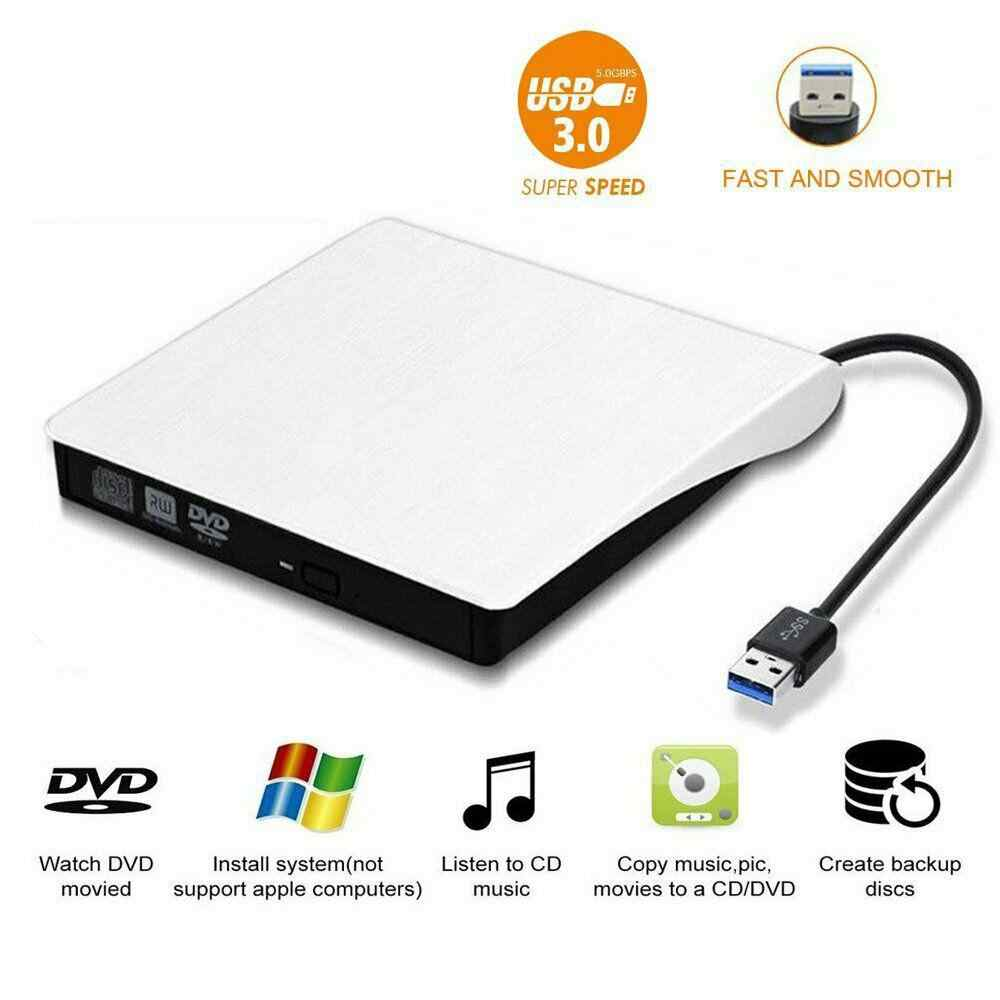 Slim External USB 3.0 DVD Drive DVD ± RW CD-RW Burner Player per Mac PC Laptop r20