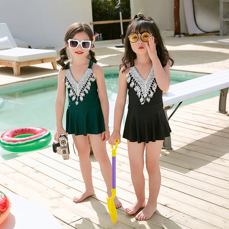 Korean-style Lace One-piece Swimsuit For Children Small CHILDREN'S Swimwear Skirt V-neck High-End Girls Swimwear Bubble Hot Spri
