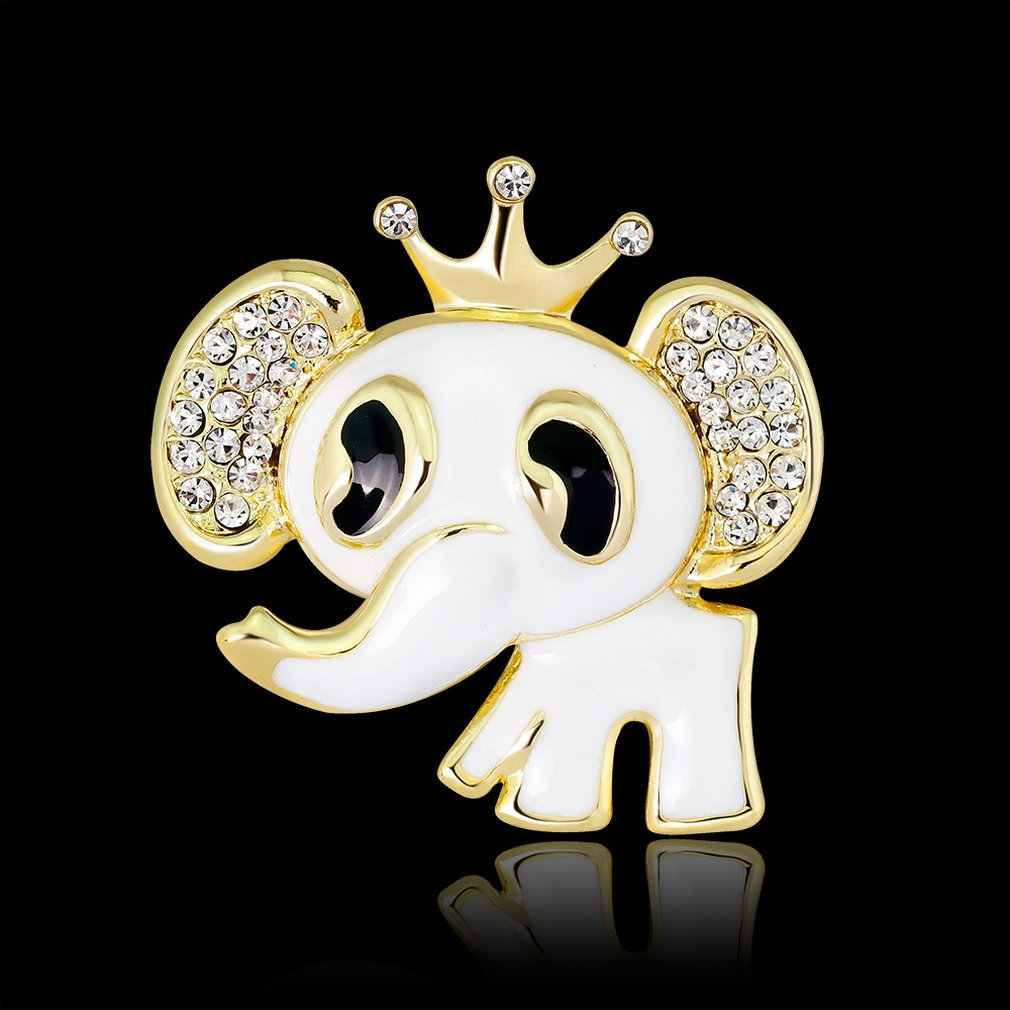 Indah Cute Gajah Aksesori Berlian Imitasi Warna-warni Kerah Pin Logam Mahkota Bros Pin Fashion Perhiasan Hadiah untuk Wanita