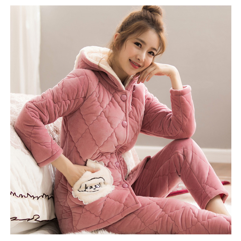 Winter Women Coral Fleece Quilted Three-Layer Pajamas Set Thick Cute Plus Velvet Warm Home-Wear Suit Sleepwear Lounge-Wear Set