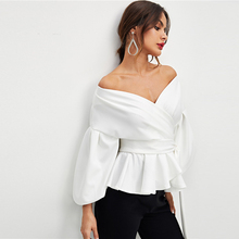 Office Lady Elegant Lantern Sleeve Surplice Puff Long Sleeve Off Shoulder Stain Blouse Autumn Sexy Women Tops And Blouses Shirt ditsy print surplice wrap blouse