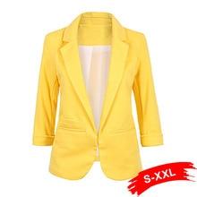 Женский желтый Блейзер размера плюс Feminino, деловая куртка, женский белый блейзер, женский синий костюм для офиса, 2018