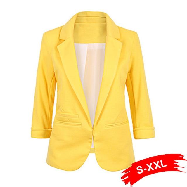 ผู้หญิง PLUS ขนาดสีเหลือง Blazer Feminino แจ็คเก็ตอย่างเป็นทางการสีขาวผู้หญิง Blazer หญิงสีฟ้าชุดสตรีสุภาพสตรี 2018