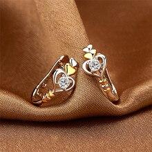 Charm Female White Round Crystal Earrings Trendy Gold Silver Small Clip Earrings For Women Elegant Love Heart Wedding Earrings pair of elegant faux gem clip earrings for women