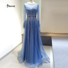 Finove 화려한 블루 이브닝 드레스 2020 a 라인 가운 풀 슬리브 깃털 넥 라인 긴 층 길이 우아한 공식 드레스
