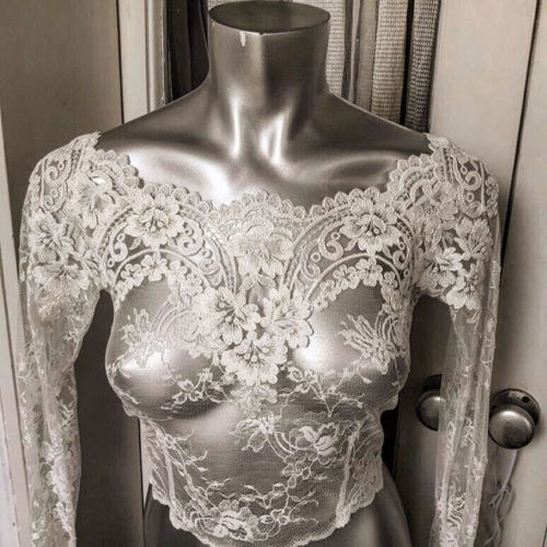 Lace Jacket Bridal Bolero Wedding Topper Sheer Long Sleeves White Ivory Plus