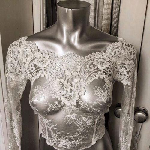 Lace Jacket Bridal Bolero Wedding Topper Sheer Long Sleeves White Ivory Plus