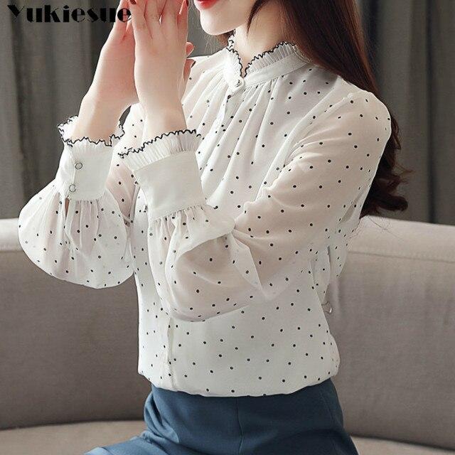 Fashion women chiffon blouse 2019 spring Long sleeve Puff blouse ruffles Chiffon lady shirt Dot pattern Lady blouse Plus size 1