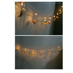 Image 5 - Novelty LED Fairy Lights Rose Gold Geometric Bedroom String Light for Wedding Decorations Party Indoor Garden Garland Lighting
