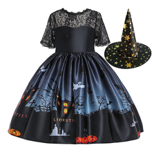 Baby Girls Halloween Evening Elegant Party Princess Dress+Hat Set Christmas Children Kids Dresses Flower Girls Wedding Gowns все цены