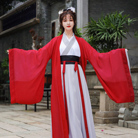 Red Hanfu Female Wide Sleeved Robe Student Cosplay Clothes Chinese Style Hanfu Ancient Fairy Princess Folk Dance Costume DWY4155