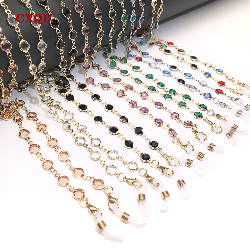 Colorful Crystal Bead Eyeglass Holder Fashion Glasses Chain For Women Eye Accessories Eyewear Straps Cord Sunglasses String Gift