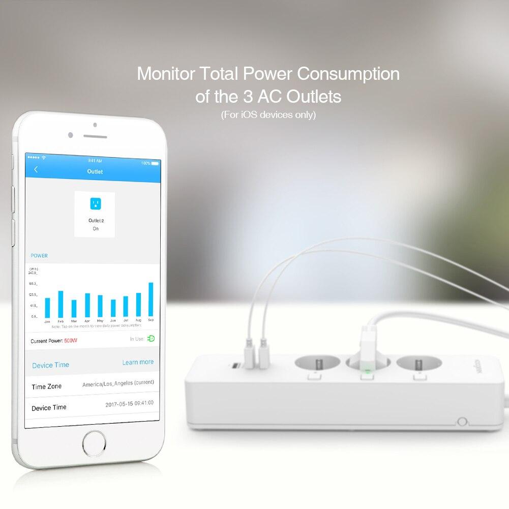 Koogeek Wi Fi розетка ЕС вилка розетка w/индивидуальный переключатель мощность полосы Смарт зарядное устройство 3 usb порта зарядки для Apple Homekit - 6
