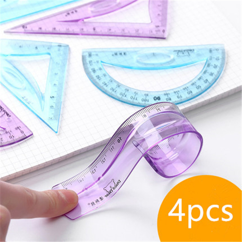 1set Flexible Plastic Ruler Protractor Curved Triangle Ruler Student Drawing Cute Multifunctional Office School Supplies 15cm