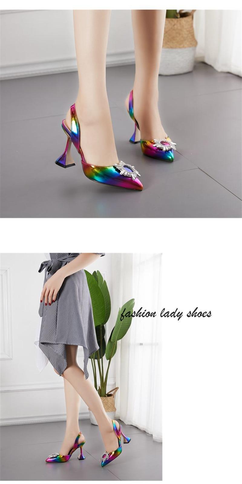 Summer 2020 Sandals Women`s Shoes Colorful High Heel Slingbacks Sun Flower Rhinestone Shallow Mouth Women`s Sandals Plus Size 42 (6)