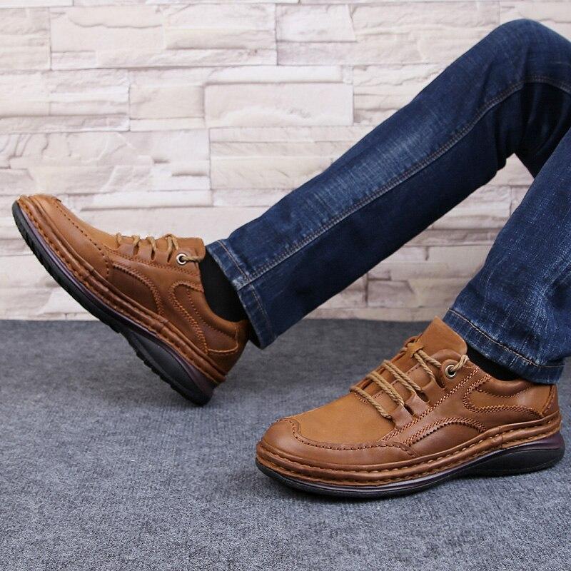 Hommes chaussures en cuir véritable affaires chaussures formelles 100% cuir de vachette respirant chaussures de randonnée de montagne 2019 nouvelles baskets en cuir - 3
