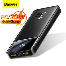 Baseus Power Bank 20000mAh przenośna ładowarka Powerbank 10000 zewnętrzna bateria PD 20W szybkie ładowanie dla iPhone 12 Xiaomi PoverBank tanie tanio Bateria litowo-polimerowa Wbudowane przewody Wyświetlacz cyfrowy Z lampką LED podwójne USB USB typu C Rohs CN (pochodzenie)