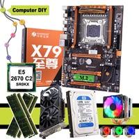HUANANZHI deluxe X79 anakart CPU E5 2670 C2 6 heatpipes soğutucu RAM 16G DDR3 RECC 1TB SATA HDD GTX1050Ti 4G ekran kartı