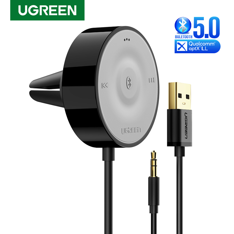Ugreen bluetooth 5.0 carro kit receptor aptx ll 3.5 adaptador aux sem fio para o orador do carro usb bluetooth 3.5mm jack receptor de áudio