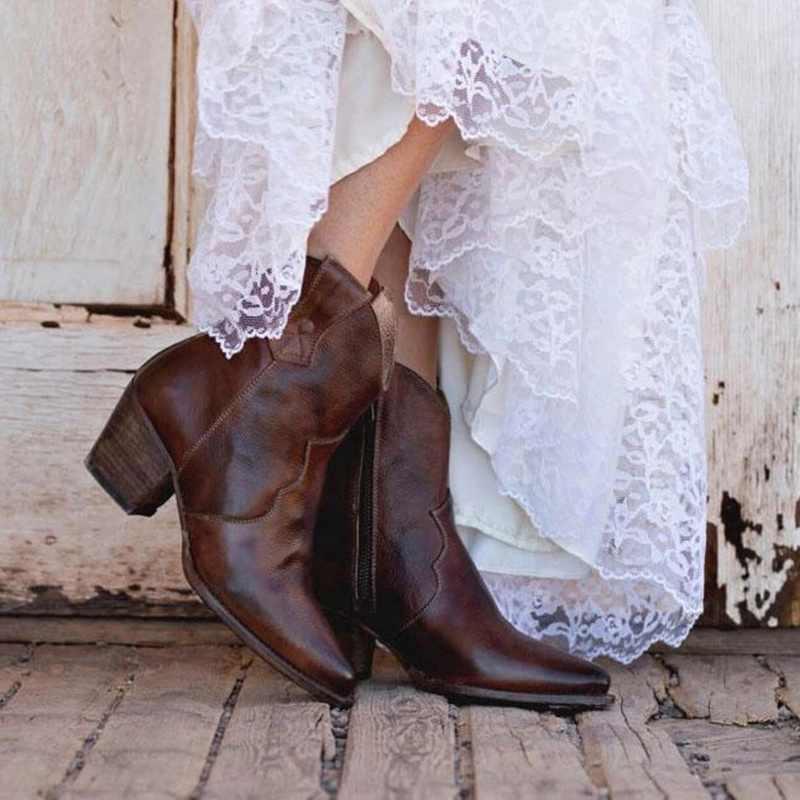 VINTAGE ผู้หญิงรองเท้ารองเท้าส้นสูงหัวเข็มขัดคาวบอยกลางลูกวัวรองเท้าแฟชั่นรองเท้าลำลองรองเท้าขนาด 35-43
