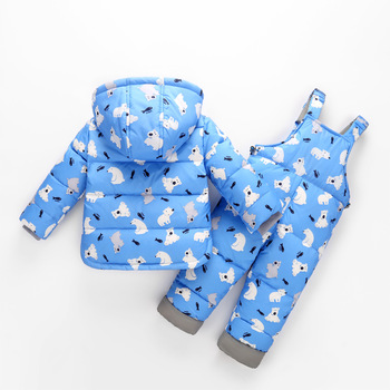 Children's down jacket boy suit new two-piece baby clothes casual girl thickened cartoon coat