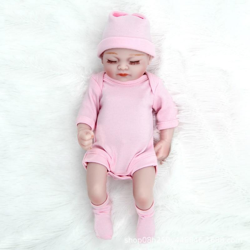 27CM Mini Reborn Baby Doll Toy Vinyl Silicone Body Stuffed Realistic Baby Doll Children Kids Pretend Play Toddler Birthday Gifts