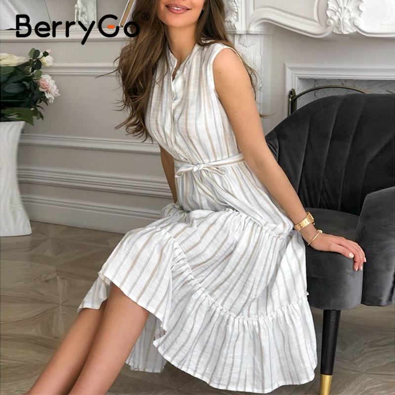BerryGo Casaul Striped Summer Office Dress Sexy Sleeveless Button Women Dress High Waist Sash Ruffled Loose Long Dresses Ladies