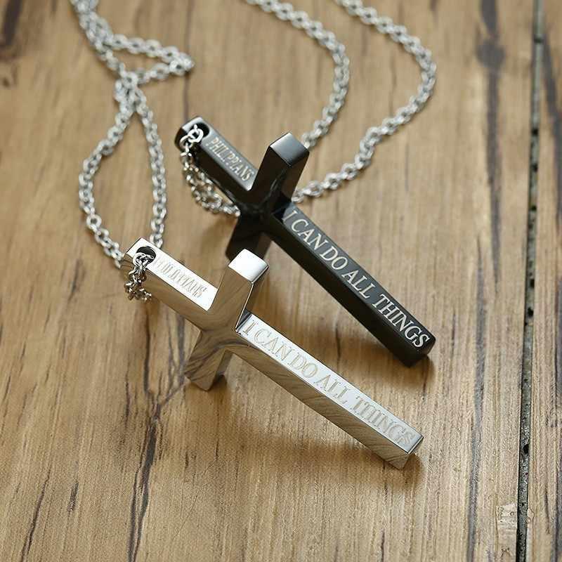 Erkek çapraz kolye çekicilik her şeyi yapabilirim gümüş renk tonu İsa haç dini hıristiyanlar erkekler kolye