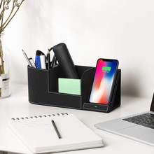 Wireless Charger Desk Organizer Fast Charging Station for IPhone XS Max XR X 8 Plus Samsung S10 S9 S8 Pencil Pen Pad Holder(China)