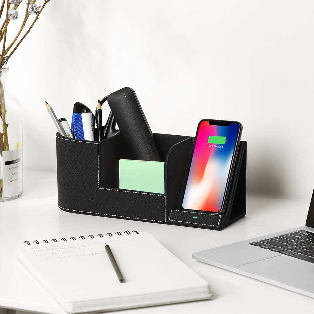 Wireless <font><b>Charger</b></font> Desk Organizer Fast Charging Station for IPhone XS Max XR X 8 Plus Samsung S10 S9 S8 Pencil Pen Pad Holder image