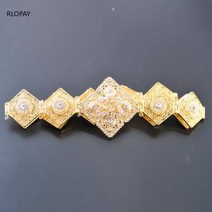Image 3 - RLOPAY New Moroccan Fashion Kaftan Belts Crystal Grown Belts for Women Arabic Gold Waist Chain