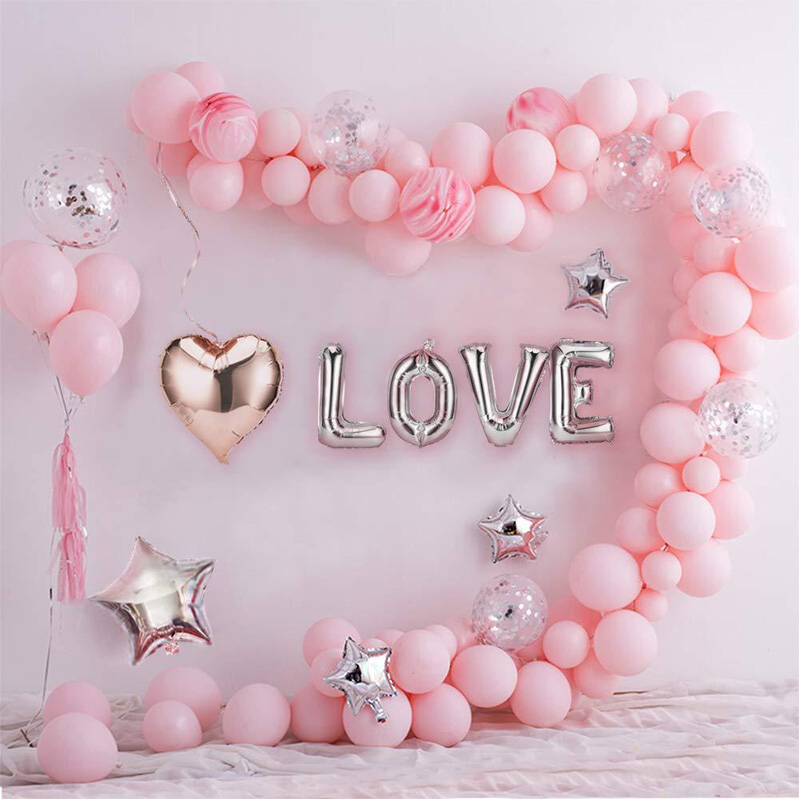 144pcs Foil Ballon Decoration Wedding Baby Shower Party Supplies Pink White Balloon Arch Garland Set LOVE Star Heart Shaped