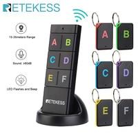 Retekess-Localizador de llaves inalámbrico TH104, llave RF, billetera con rastreador de mascotas, Control remoto, 1 TRANSMISOR DE RF, 6 receptores