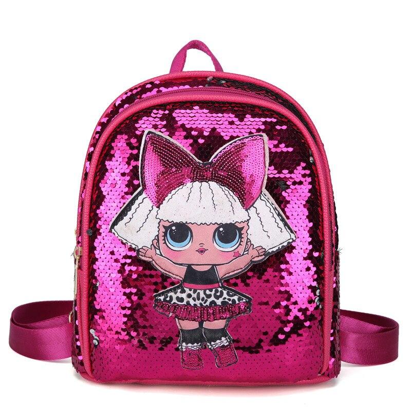 LOL Surprise Dolls Sequins LOL Mochila Bag Tide Sequins Backpack Double Zipper Fresh Cute Cartoon Bag For Girl 26*20.5*11cm