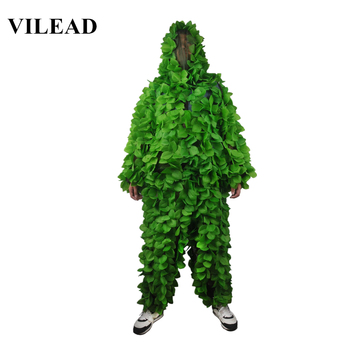 VILEAD Green Leaves Camouflage Suit Hunting Ghillie Suit Woodland Camouflage Hunting Clothes Camo Sniper Army Airsoft Uniform