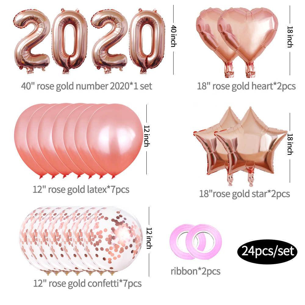 2020 Feliz Ano Novo Conjunto Balão de alumínio Balões Número Da Árvore de Natal Penduradas Decorações da Festa de Natal Para Casa 16/30 /32/40 Polegada