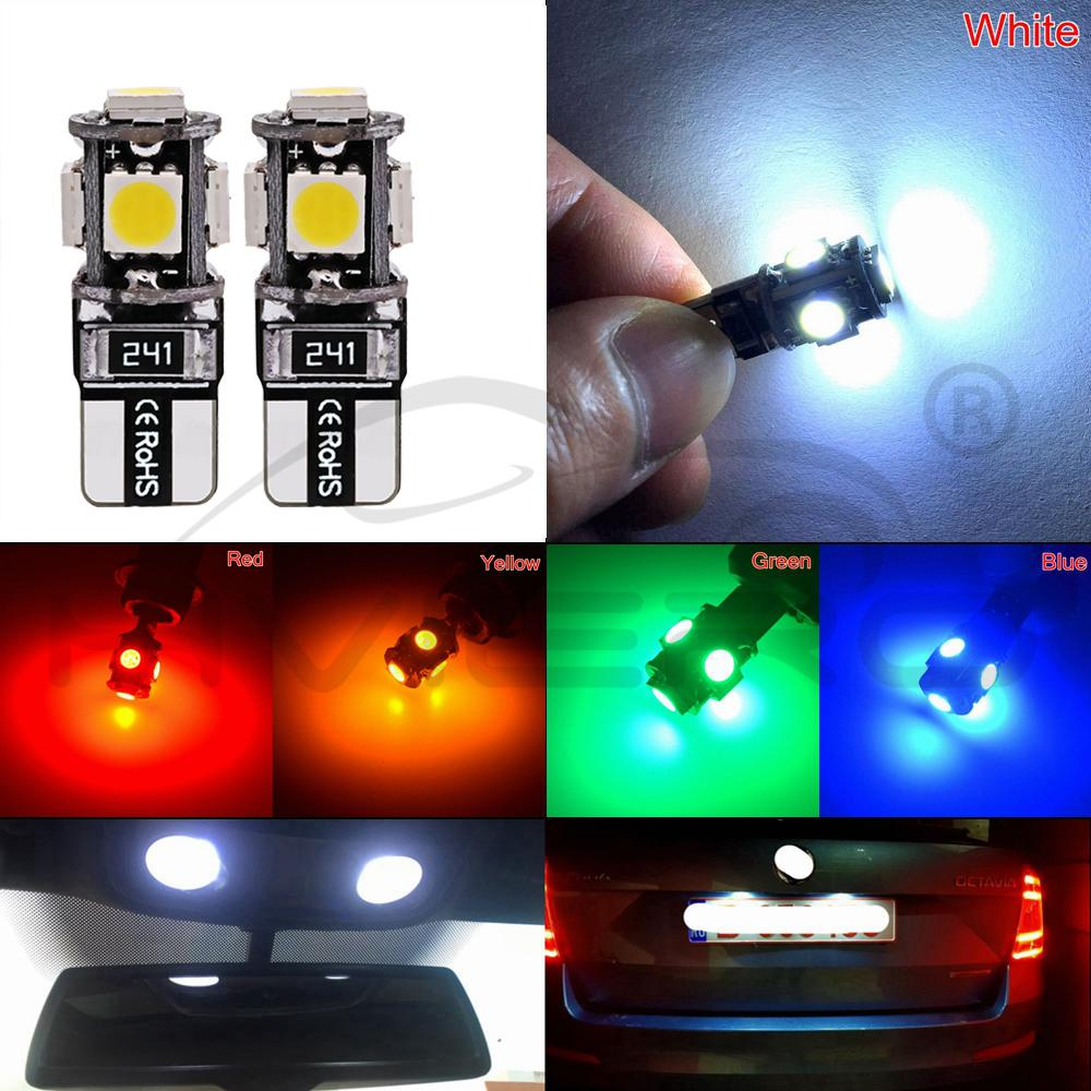 10X T10 W5w Canbus White Blue Red 5smd Car Light 194 168 Error Bulbs Wedge Lamp Parking Bulb Band Decoder Sign Trun Light DC 12V in Signal Lamp from Automobiles Motorcycles