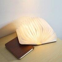 Houten Boek Lamp Kleurrijke Led Nachtlampje Opvouwbare Draagbare Usb Oplaadbare Slaapkamer Bedlampje Voor Kinderen Kids Vriendin