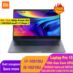 2020 Edition Xiaomi Laptop Pro 15.6 Inch Mi Notebook MX350 Intel Core i7-10510U / i5-10210U 100% sRGB FHD Screen Computer