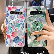 Funda de teléfono LOVECOM Flor de hoja láser con soporte para Samsung Note 10 Pro A50 A70 A10 S8 S9 S10 Plus funda suave para teléfono IMD